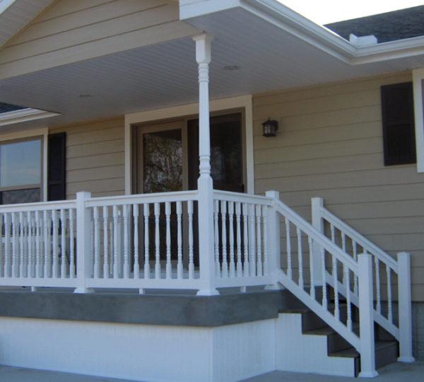 3.5' Denali White Colonial Railing On Porch