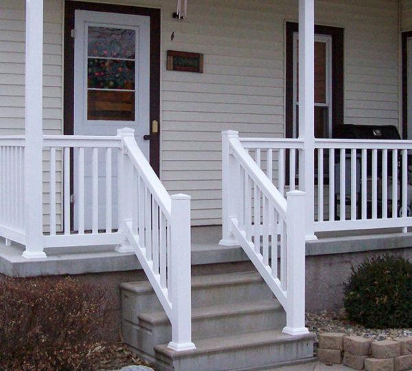 3.5' Denali White Square Railing On Porch Closeup
