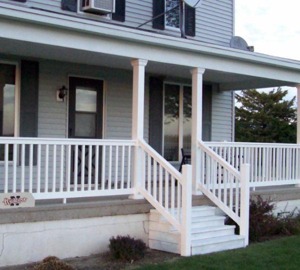 3' Denali White Square Railing On Porch