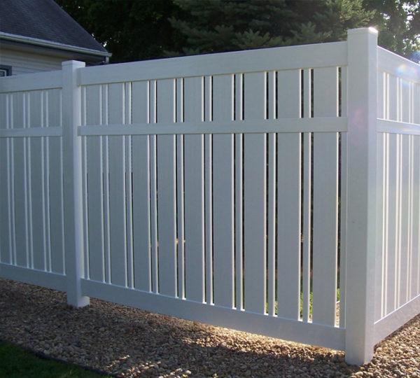 6' White Hukser Semi-Privacy Fence